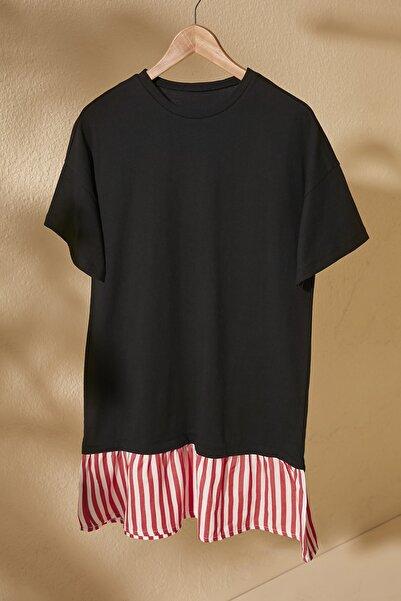 TRENDYOLMİLLA Siyah Çizgi Detaylı Örme Elbise TWOSS20EL2802