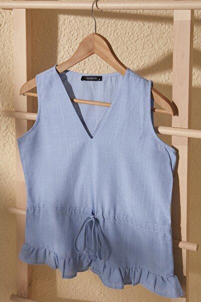 Mavi Bağlama Detaylı Bluz TWOSS20BZ0898