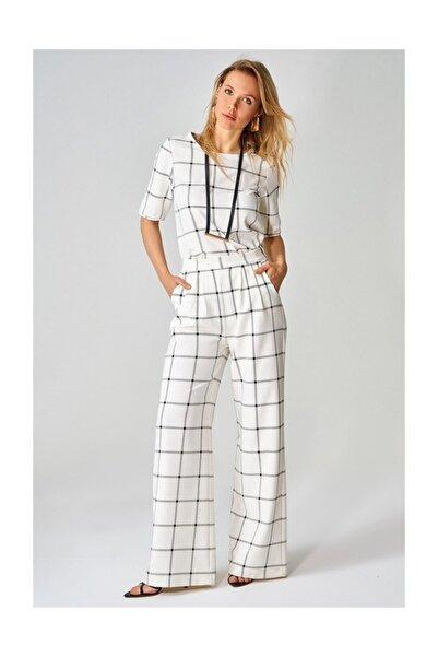 boutiquen Kareli Cepli Ekru Pantolon