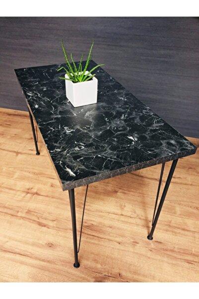Tanraf Mermer Desenli Mutfak Masası 120x60 Cm Ebat Metal Ayaklı