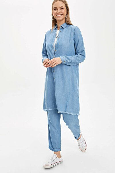 Kadın Mavi Relax Fit Dokuma Pantolon N5664AZ.20SM.NM39