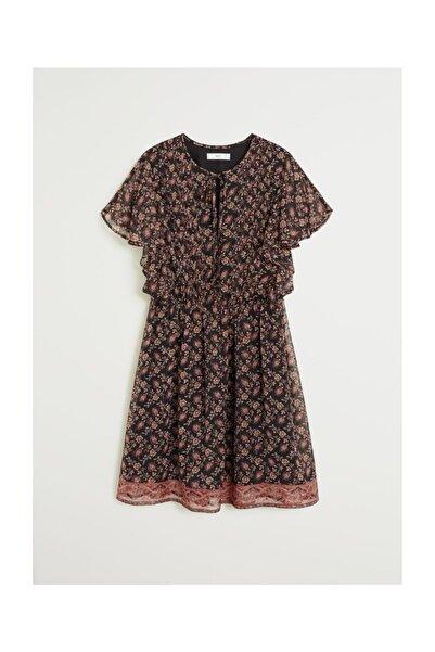 Kadın Siyah Fırfırlı Desenli Elbise  67017695