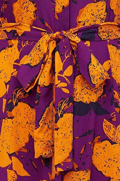 Kadın Mor Desenli Dokuma Elbise N0360AZ.20SM.PR200