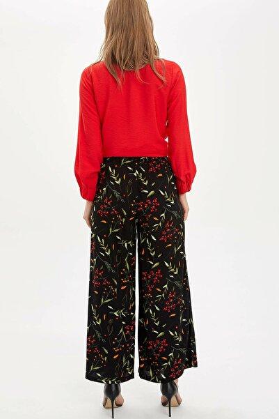 Kadın Siyah Çiçek Baskılı Relax Fit Dokuma Pantolon N2384AZ.20SM.BK27