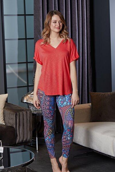 Pamuk & Pamuk Mavi Hint Desen Votex Viskon V Yaka T Shirt Kadın Tayt Ev Içi Giyim