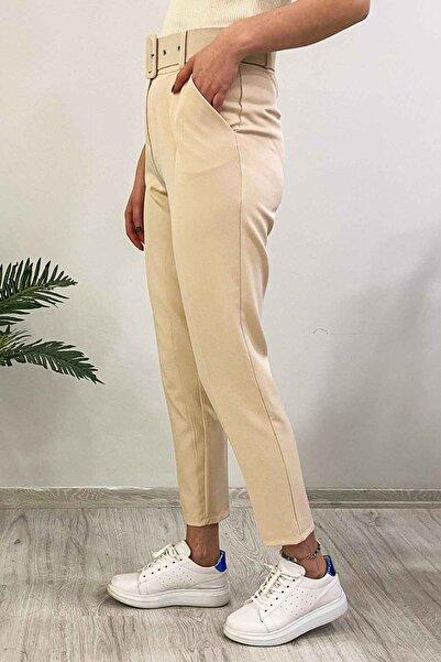 Madmext Mad Girls Kemerli Bej Kadın Havuç Pantolon MG225