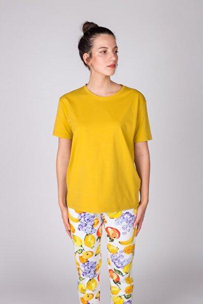 Hays Kadın Hardal Kısa Kollu Basic Tshirt