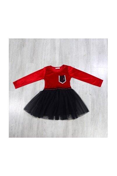 RAPAPA Kız Çocuk Kadife Dokunuşlu Muhteşem Elbise Abiye Kırmızı 13963