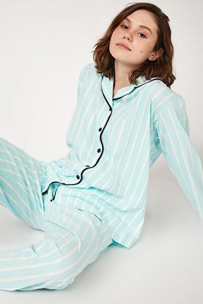 Happiness İst. Kadın Nil Yeşili Çizgili Pamuklu Örme Pijama Takımı GL00001