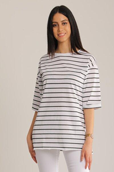 MD trend Kadın Siyah & Beyaz Çizgili Kol Katlı T-Shirt Mdt4890