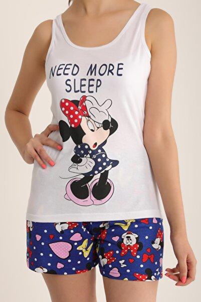 MD trend Kadın Beyaz Mickey Baskılı Şortlu Pijama Takımı Mdt4902