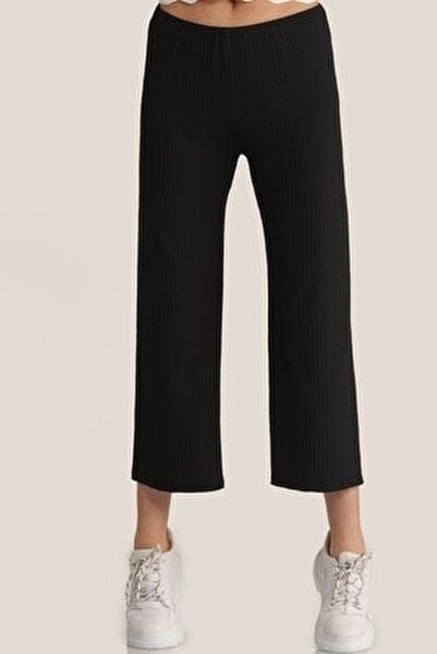 Kadın Siyah Salaş Bol Pantolon Mdt4885
