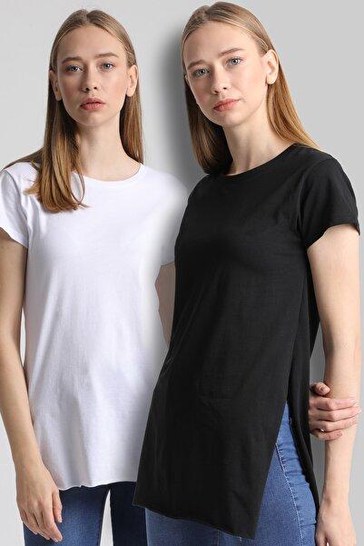 MD trend Kadın Siyah Ve Beyaz 2'Li Yırmaçlı Bisiklet Yaka T-Shirt Mdt5000