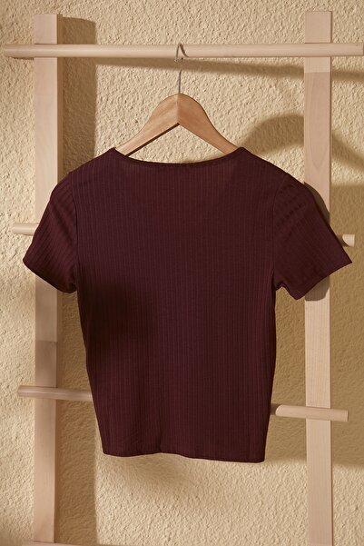 Bordo V Yaka Büzgülü Örme Bluz TWOSS20BZ1689