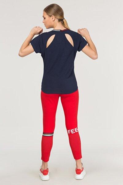 Lacivert Sırt Detaylı Kadın  T-Shirt FS-1120