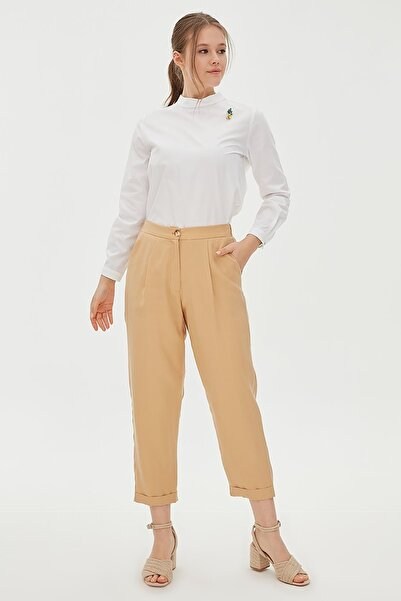 Kayra Kadın Beli Lastikli Duble Paça Pantolon Bej B20 19151