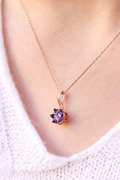 Mor Lotus Çiçeği 925 Ayar Gümüş Kadın Kolye