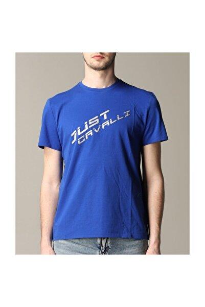 Just Cavalli Erkek Mavi Bisiklet  Yaka Mavi T-shirt