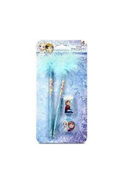 Dolpin Frozen Lisanslı 2 Adet Tüylü Kalem + Silgi + Kalemtraş - Kırtasiye Seti