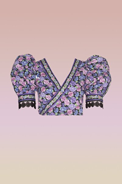 Çiçek Desenli Kruvaze Dokuma Bluz TDPSS20BZ0009