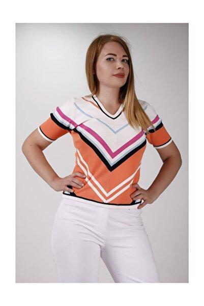 Sude Kadın Triko Çizgili Bluz 2020