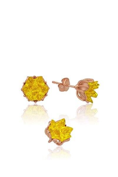 Papatya Silver Kadın Lotus Çiçeği Küpe Sarı Taşlı Kadın Küpesi Uvps300093