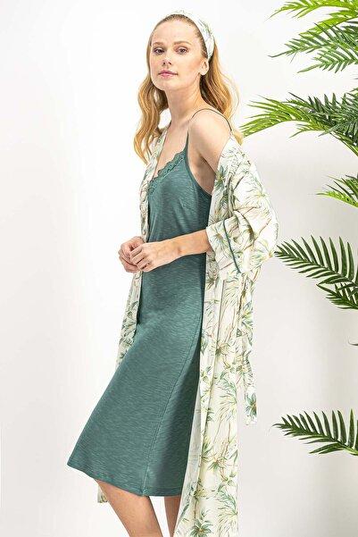 Dandelion Krem Kadın Kimono, Gecelik 2'li Takım