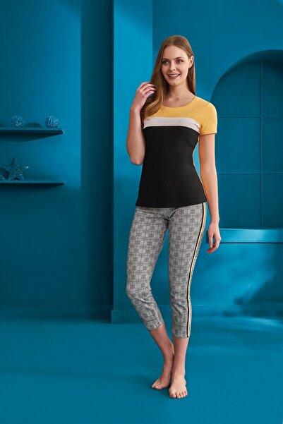 Doreanse Kadın Pamuklu Siyah Geri Desenli Kısa Kol T-shirt Tayt Pijama Takımı 4150