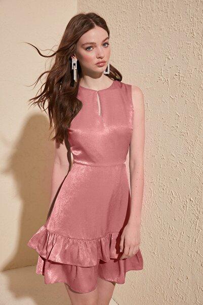 Pembe Volanlı Elbise TWOSS20EL1217
