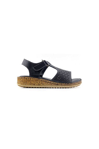 Kayra 910 Hakiki Deri Kadın Sandalet-siyah