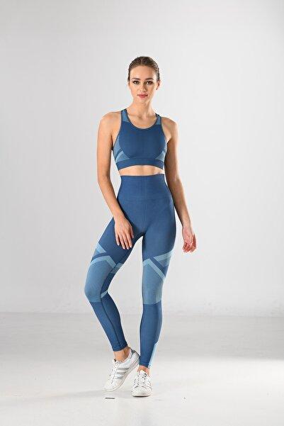 Miss Fit Kadın Sporcu Tayt Fitness Ve Günlük Kullanım Iç Göstermez 34549 Mavi Örme Seamless Dikişsiz Soft