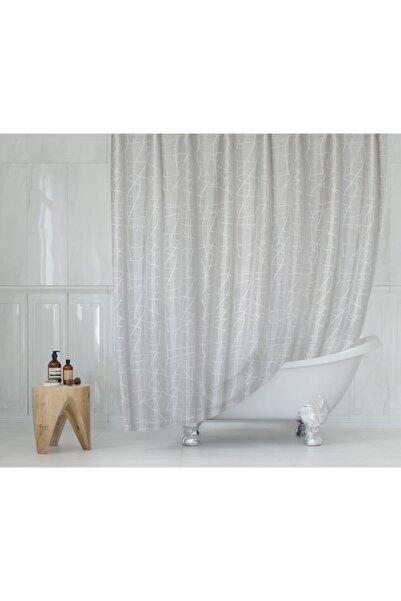 Tropik Polyester Kumaş Mermer Desen Duş Perdesi & Askı Aparatı Plastik