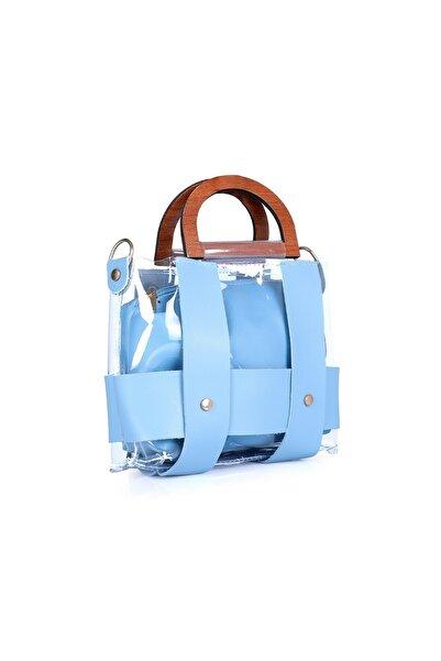 Oblavion Kadın Ahşap Saplı Bebe Mavi  Mini Kol Çanta 1002