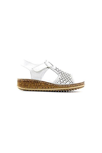 Kayra 910 Hakiki Deri Kadın Sandalet-beyaz