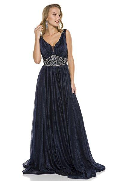 Lacivert Beli Taş Detaylı Göğüs Dekolteli Uzun Abiye Elbise