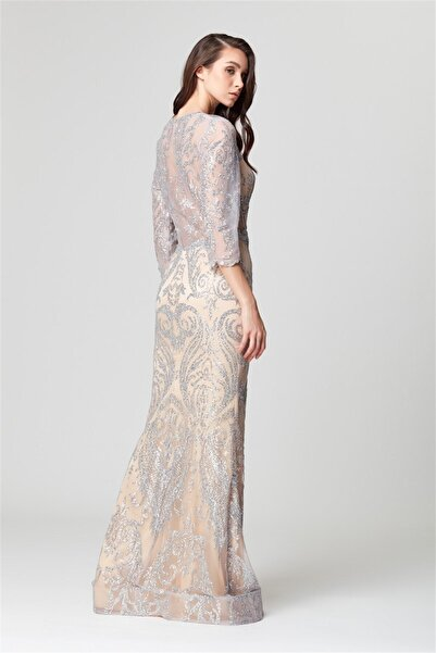Gümüş Transparan Detaylı Simli Uzun Abiye Elbise