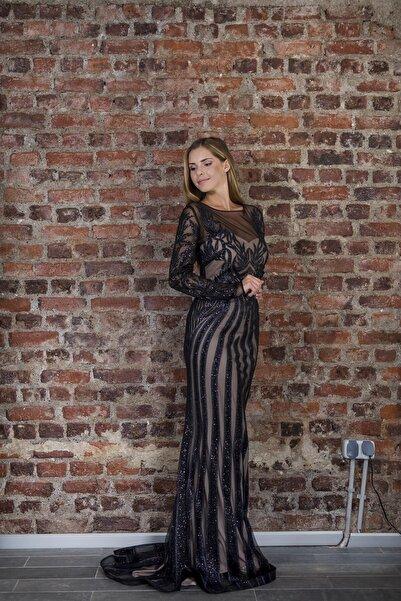 Kadın Siyah Bej Transparan Detaylı Simli Uzun Abiye Elbise