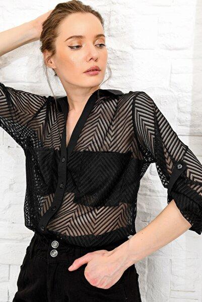 Kadın Siyah Zigzag Desenli Tül Gömlek ALC-X4053