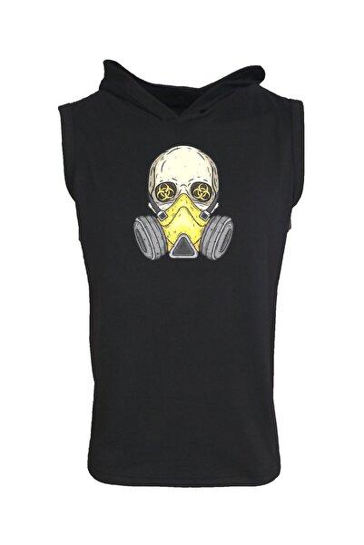 Baskılı Kapşonlu Kolsuz Siyah T-shirt