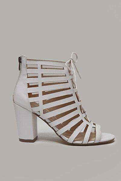 Branch Beyaz, Bağcıklı, Kafesli Yazlık Kadın Ayakkabısı
