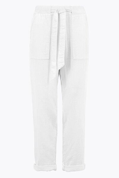 Marks & Spencer Kadın Beyaz Belden Bağlamalı Pantolon T53008040U