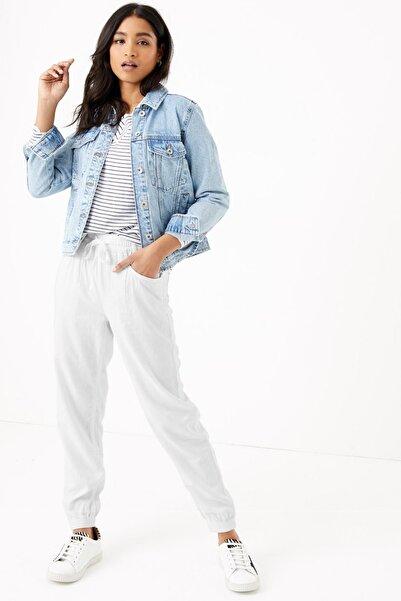 Marks & Spencer Kadın Beyaz Keten Ankle Grazer Pantolon T57007131