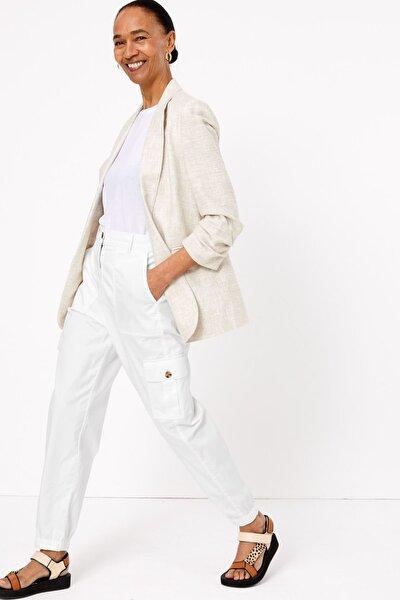 Marks & Spencer Kadın Beyaz Tencel™ Kargo Pantolon T57006117