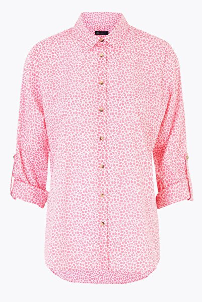 Marks & Spencer Kadın Pembe Çiçek Desenli Relaxed Gömlek T43004574