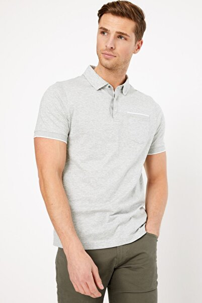 Marks & Spencer Erkek Gri Kısa Kollu Polo Yaka T-Shirt T28004885A