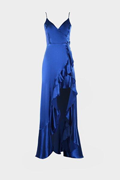 TRENDYOLMİLLA Saks Volan Detaylı Saten Abiye & Mezuniyet Elbisesi TPRSS20AE0198