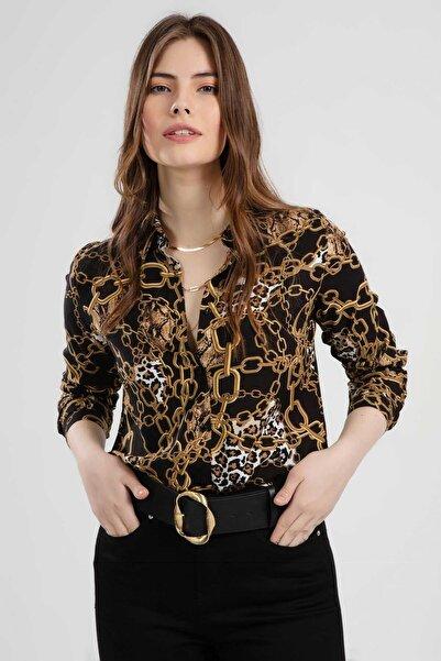 Kadın Siyah  Zincir Desenli Uzun Kollu Gömlek PTTY20S-105