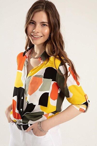 Y-London Kadın Haki Turuncu Cepli Katlanabilir Kollu Gömlek Y20S110-3814