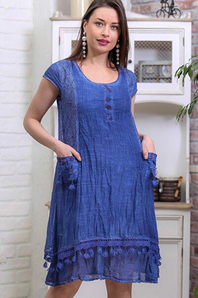 Kadın Mavi Bohem Cep Detaylı Etek Ucu Saçaklı Yıkamalı Astarlı Elbise M10160000EL96957