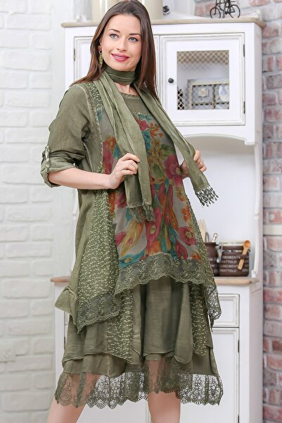 Kadın Haki Vintage Çiçek Desenli Fırfırlı Yıkamalı İkili Uzun Kollu Elbise M10160000EL96918